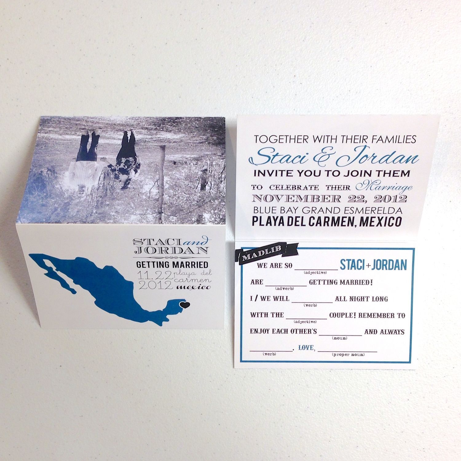 Mexico destination wedding invitation - trifold | Terlie Products ...