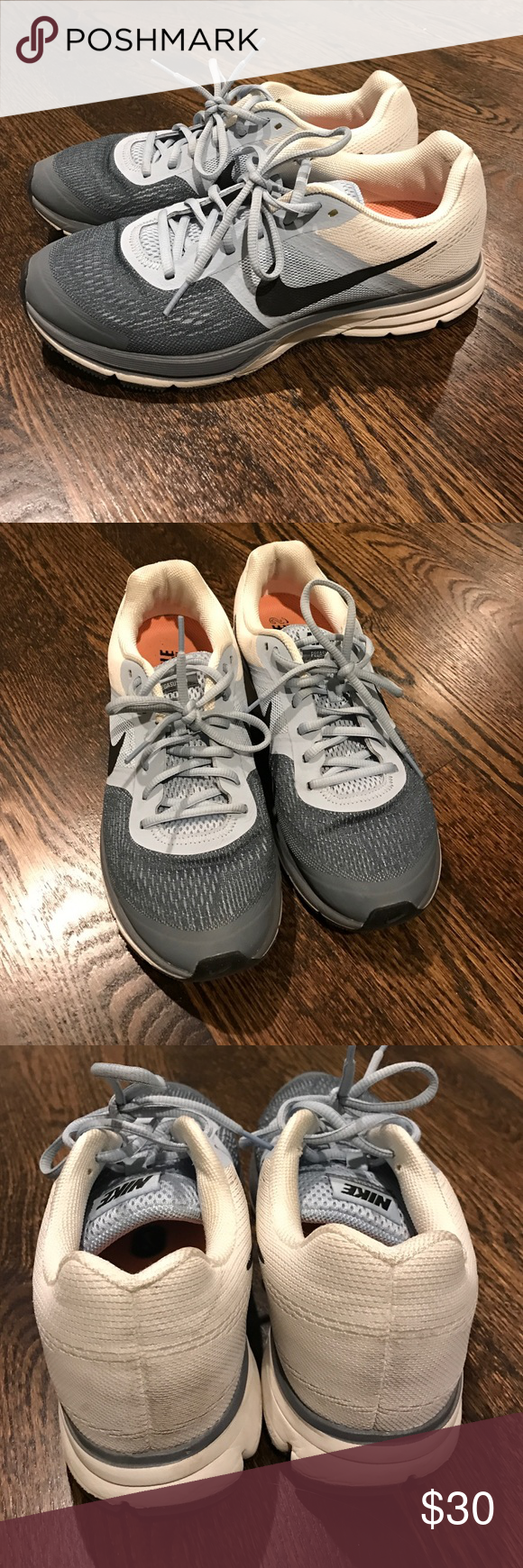 Nike Shoes Size 9.5 // Nike Zoom // BARELY WORN // great condition // Very minor scuffs which are washable // Blue, Grey & White multi-color design Nike Shoes Athletic Shoes