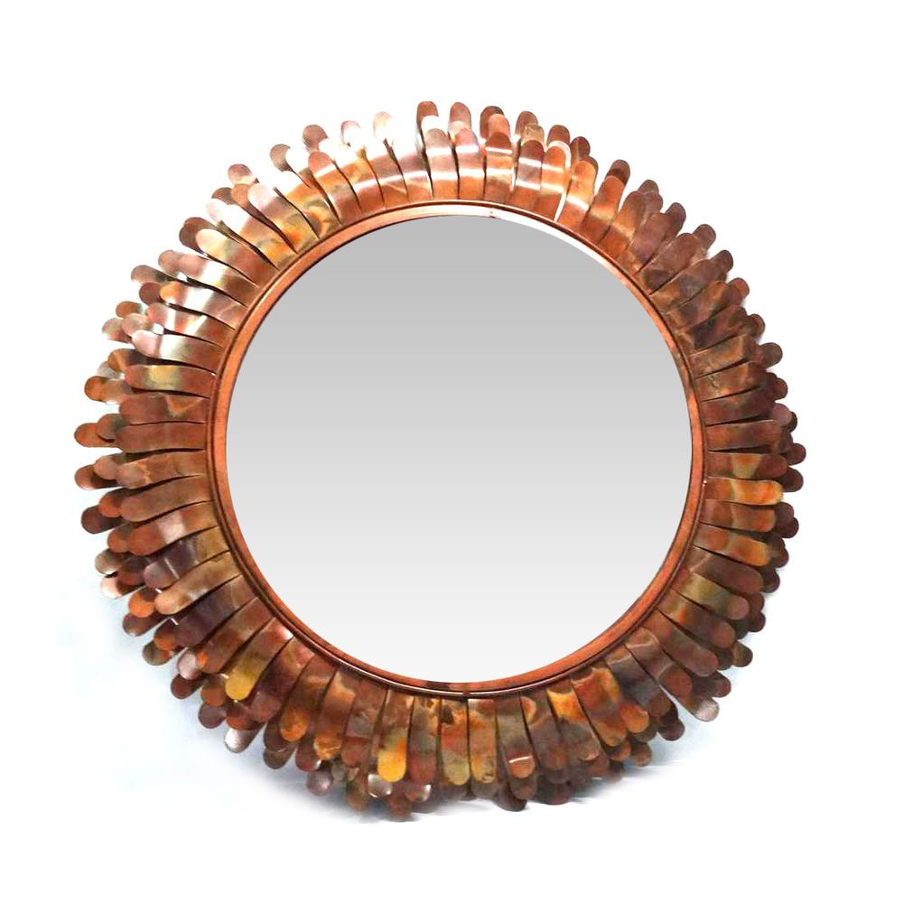 35  Stunning Sunflower Design Wall Mirror, with Burnt Copper Antique Finish