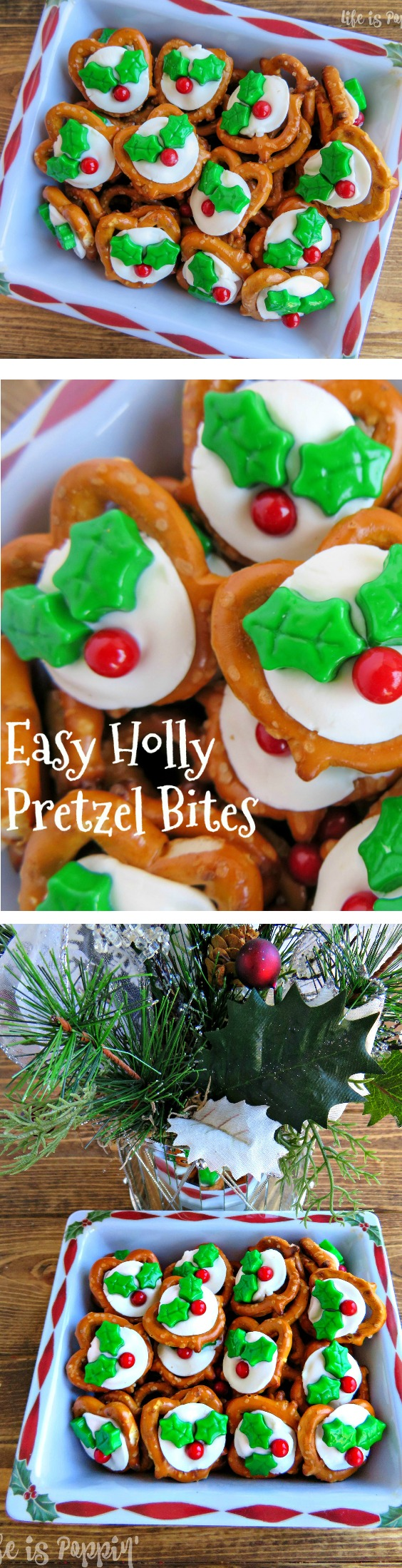 They are easy to make, cute to look at and taste amazing. These fun little treats give you the perfect balance of something sweet, salty and crunchy all in one bite. Not to mention they are super festive! You can make these for your cookie exchange, class parties, to give to co-workers or just to have sitting in the middle of the table.