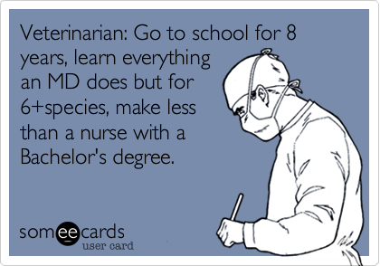 Funny Cry For Help Ecard Veterinarian Go To School For 8 Years Learn Everything An Md Does But For 6 Speci Veterinary Humor Veterinarian Quotes Vet Medicine