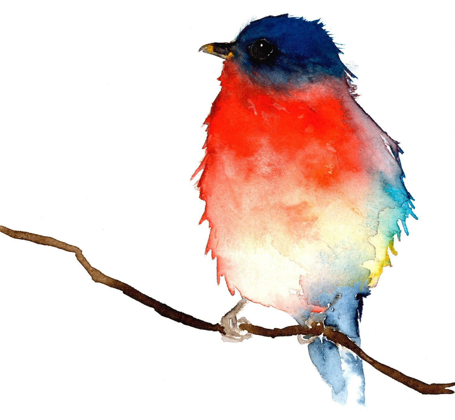 Original Watercolor Painting - Little Blue and Red Bird. $68.00, via Etsy.