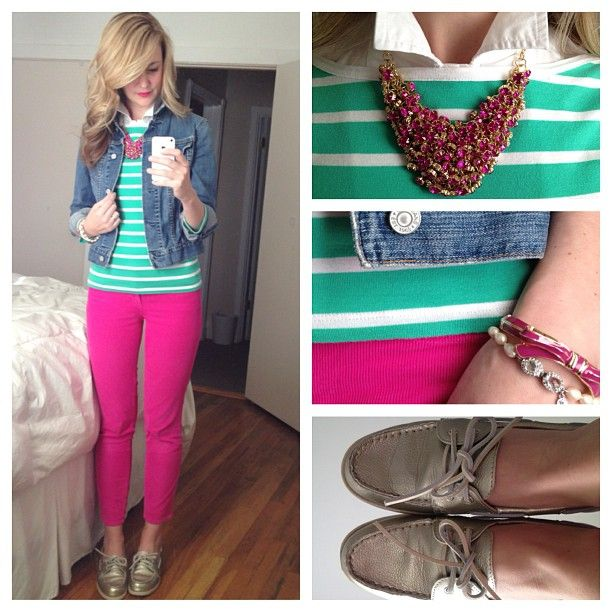 pink skinnies, green and white stripe top, jean jacket outfit. Photo by karlareed