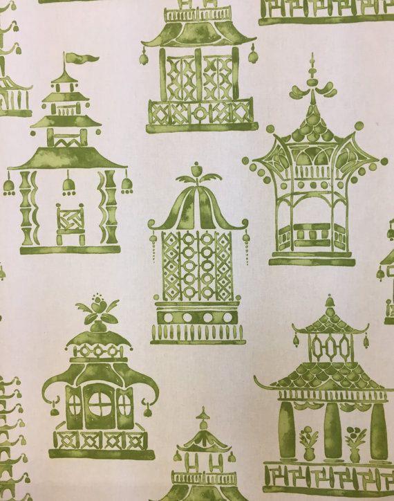 Ming Pagoda Green And White Fabric Chinoiserie Fabric