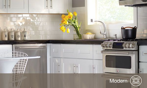 Home Decorators Online Cabinetry Depot Newport Pacific White Painted Shaker Door Style Gives A Clean Light Feel To The Kitchen