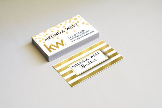 Gold Foil Elegant Stripes Business Cards Keller Williams Real Estate