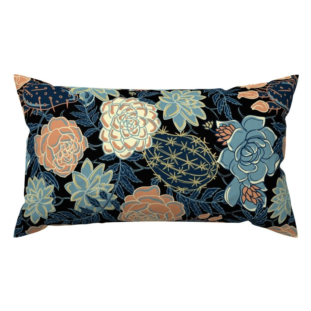 Blue succulent and Roses rotate on Catalan by torysevas | Roostery Home Decor