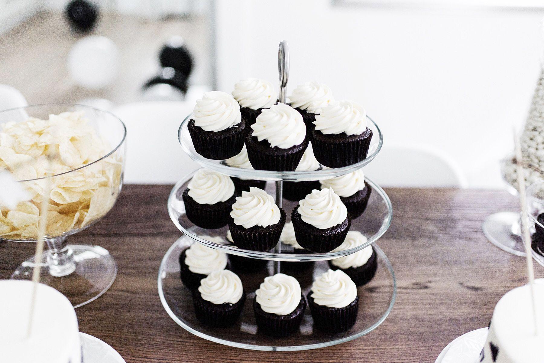 Kids Birthday Party Cupcakes Black White Monochrome First