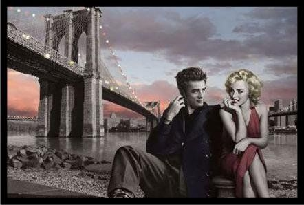 "JAMES DEAN /& MARILYN POSTER 91 x 61 cm 36 x 24/"" UNDER BROOKLYN BRIDGE CONSANI"