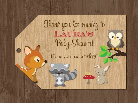 woodland favor tags woodland baby shower tags forest animals bag tags thank you tags printable