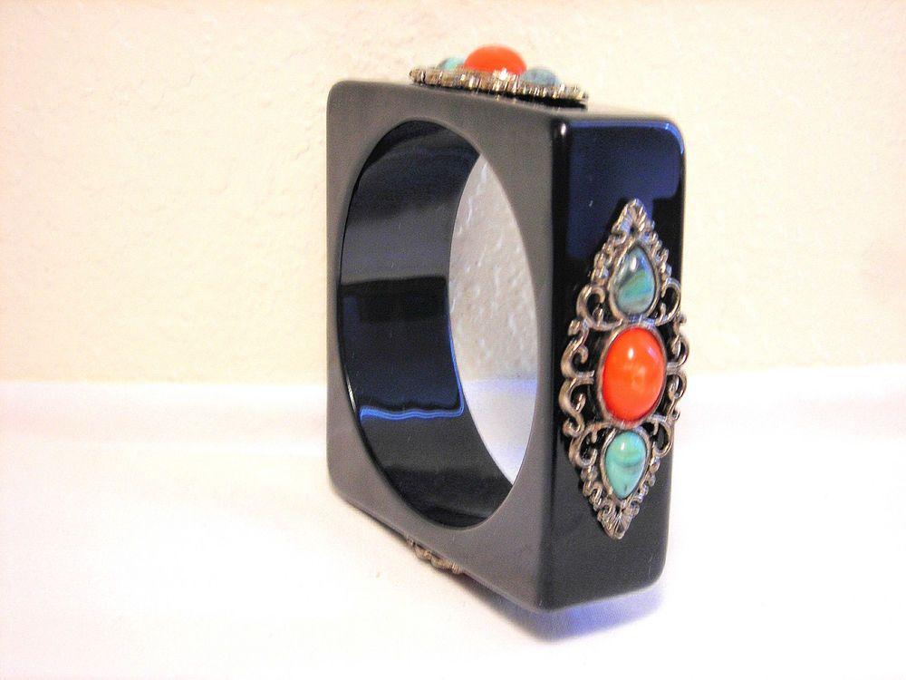 Vintage Black Lucite Bracelet Acrylic Orange Turquoise 90 Grams #Bangle