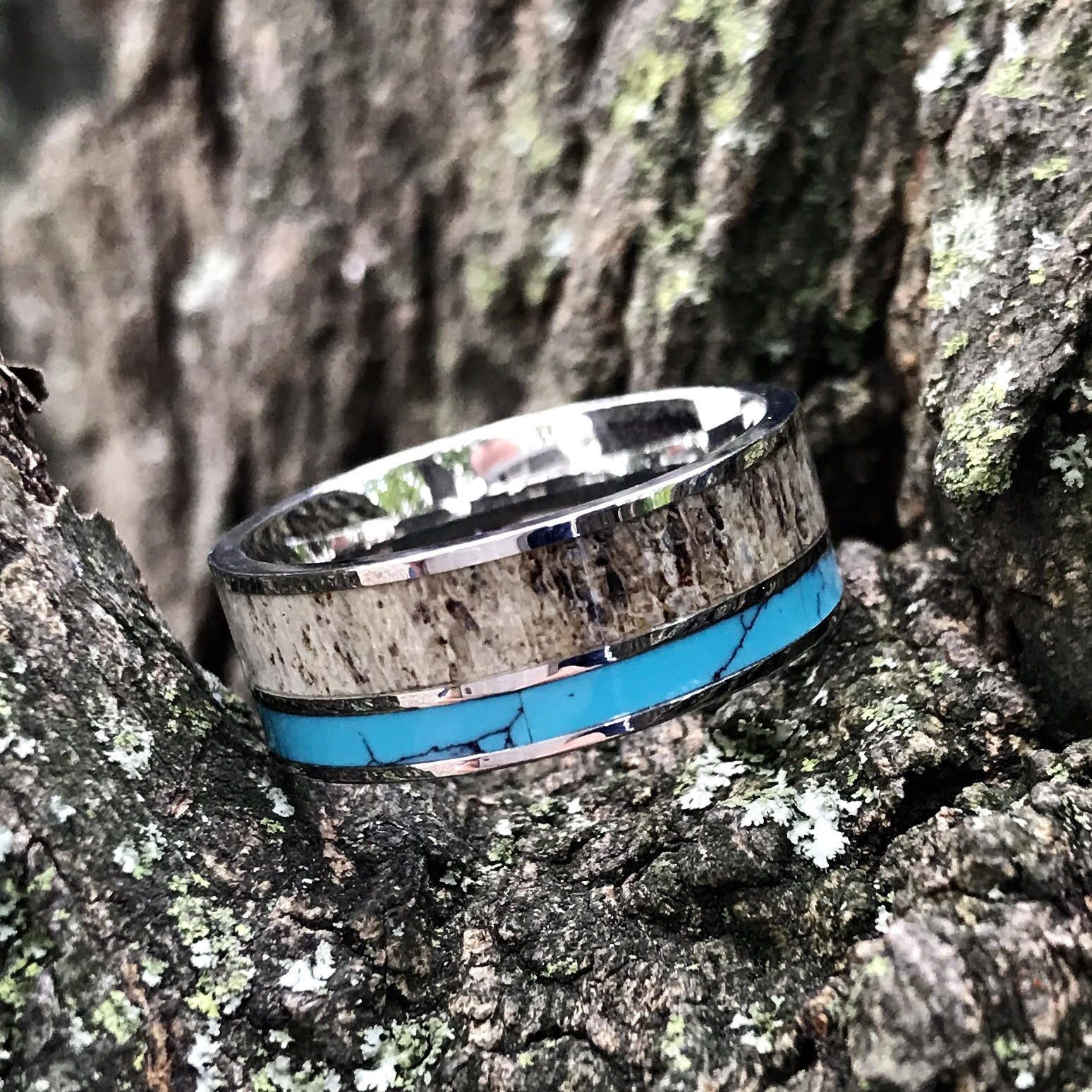 Natural Deer Antler Ring with Turquoise Inlay Mens
