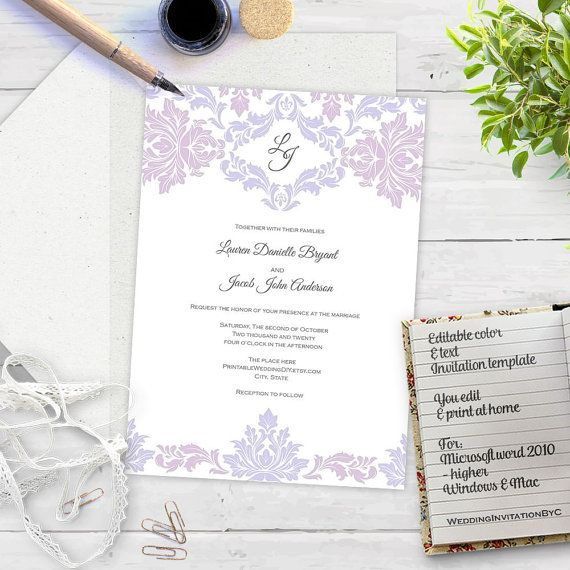 Lavender Lilac Damask Invitation Template by MyPrintablePaperie