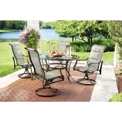Hampton Bay Statesville 5-Piece Padded Sling Patio Dining ... on signs furniture, home depot boats, home depot outdoor candles, home depot store, home depot lawn mowers, home depot clearance sale, outdoor furniture, home depot lighting ideas, home depot hammock chair, home depot wicker swing, home depot living room chairs, home depot garden chairs, home depot wood furniture, home depot hampton bay sectional, home depot adirondack chair covers, home depot rattan furniture, home depot grill islands, home depot hampton bay track lighting, home depot white wicker chairs, home depot outdoor coolers,