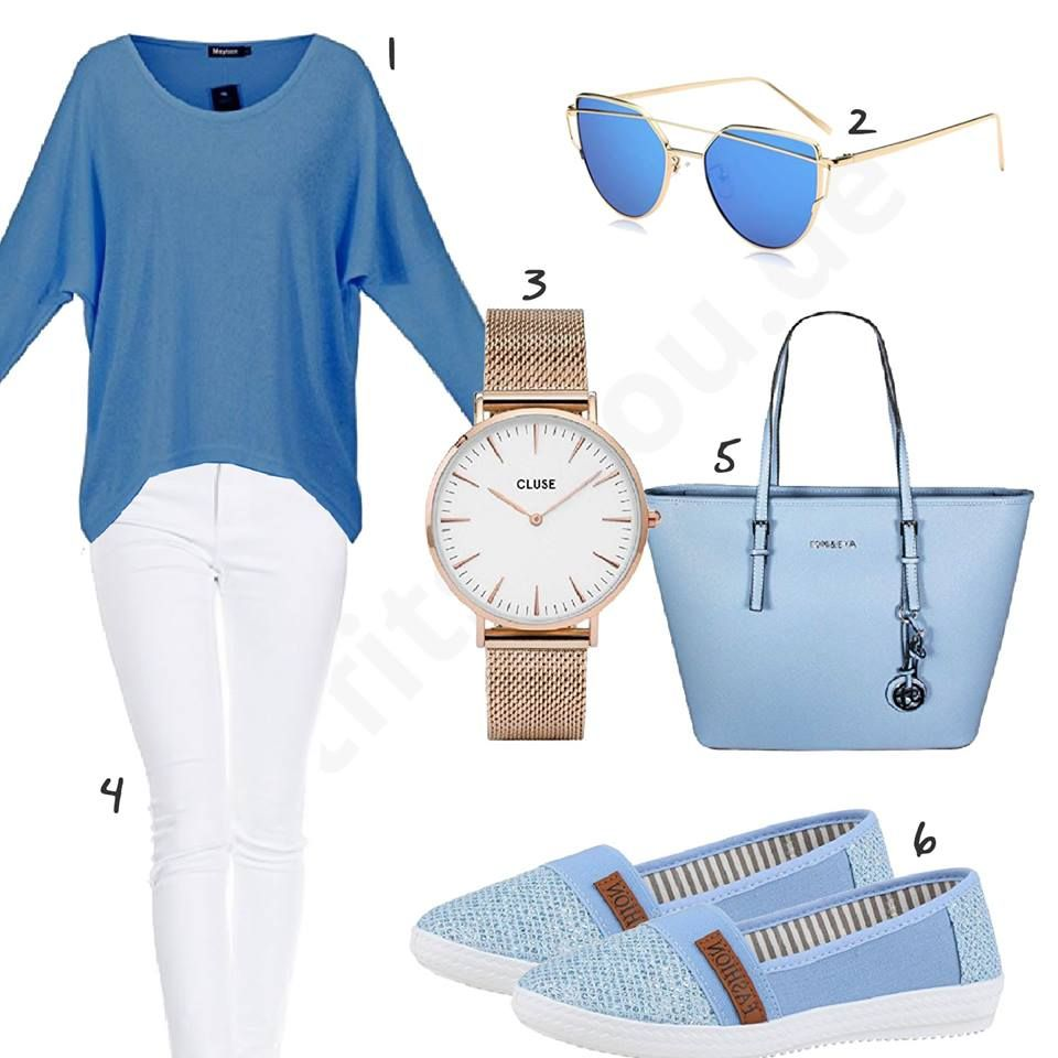 Photo of Blue and white women's outfit with sweater and jeans – outfits4you …