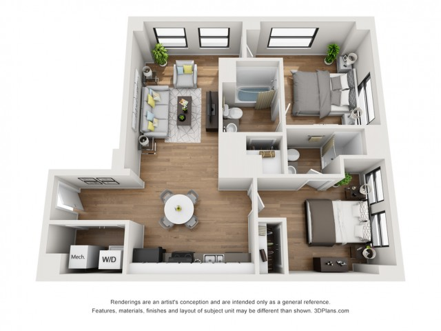 2 Bed 2 Bath Apartment In Nashville Tn The Stahlman Small Apartment Layout Small Apartment Complex Apartment Layout