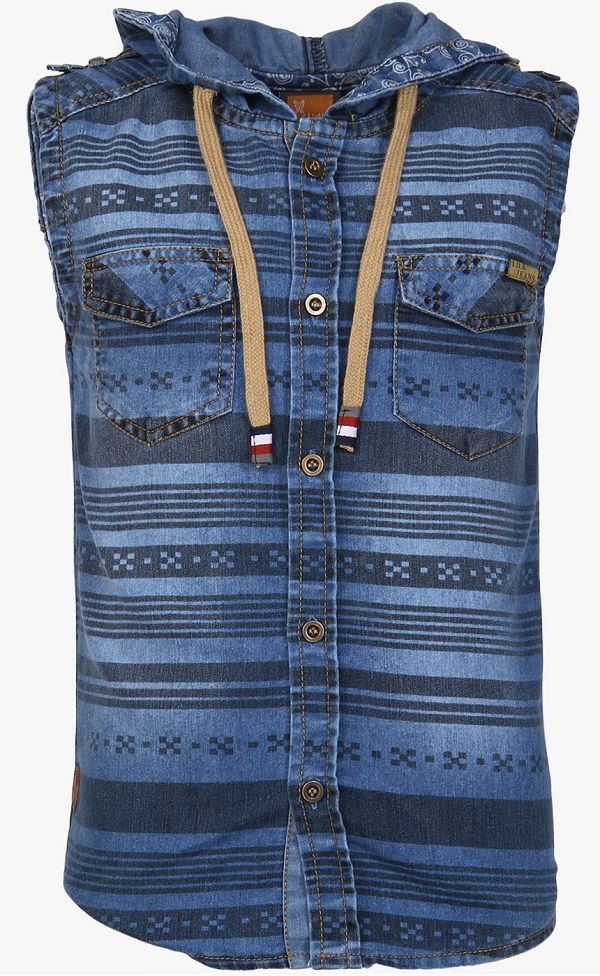 Little Kangaroos Blue Printed Casual Shirt With Hooded