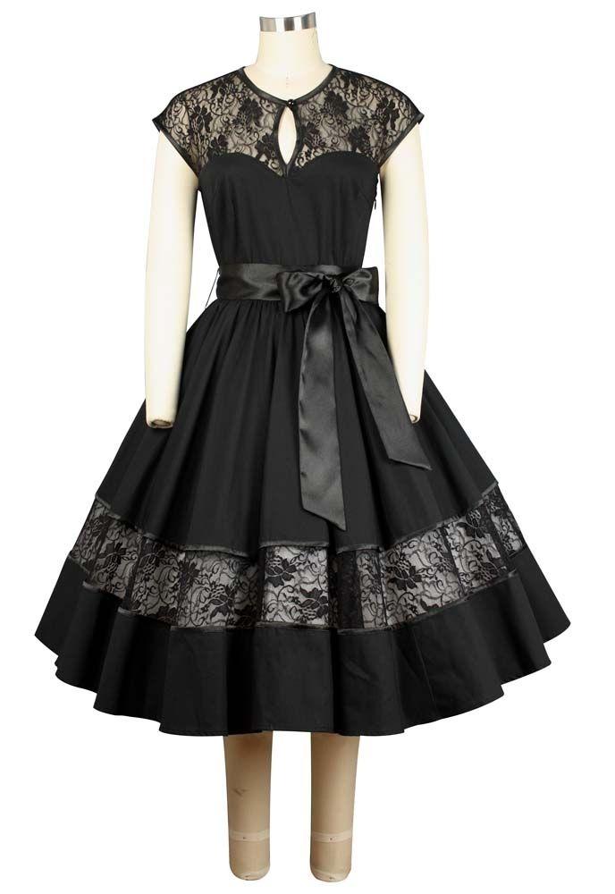 f01717b255b1 Robe rétro vintage dentelle satin noir Robe rétro vintage