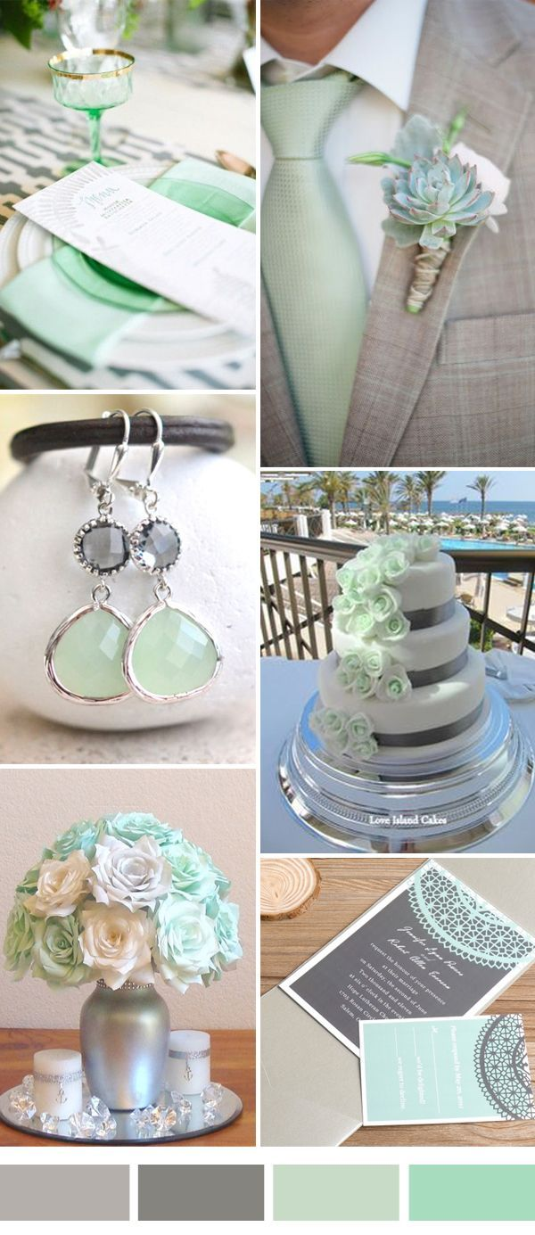Mint and grey wedding color combos for wedding jewelry
