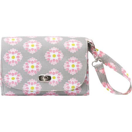Be prepared for little emergencies on family outings with this printed diaper clutch, featuring adjustable straps for versatile style.