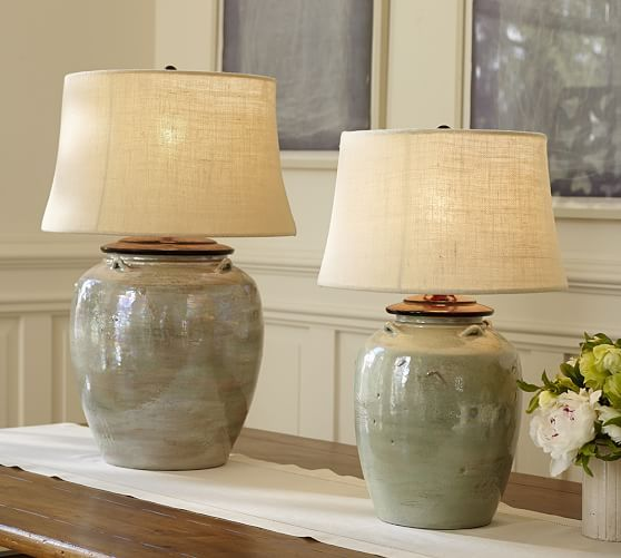 On Console Behind Bed Or On Nightstands Courtney Ceramic Table Lamp Base Blue Pottery Barn Table Lamps Living Room Ceramic Table Lamps Table Lamps Living