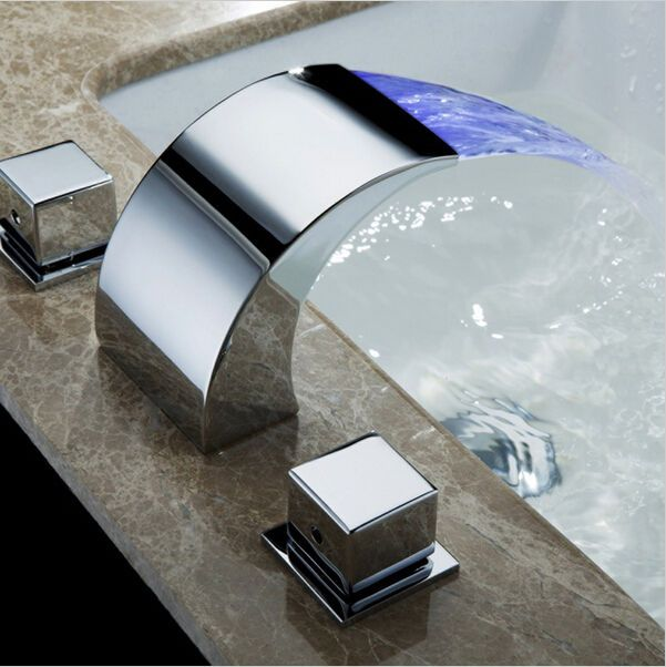 Deck Mounted LED Waterfall Bathroom Bath Roman Tub Brass Basin Sink ...