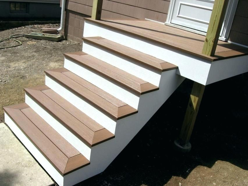Trex Deck Stairs With No Visible Board Google Search Deck   Outdoor Composite Stair Treads   Stone   Framed   Outside   Ready Made   Blocking