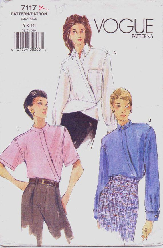 90s Vogue Pattern 7117 Womens Wrap Blouson Blouse by CloesCloset ...