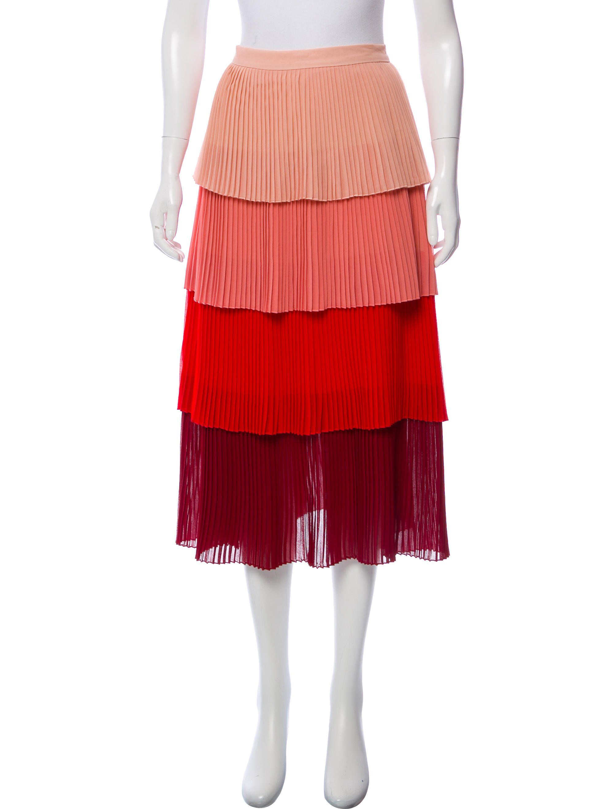 13f802d23d8a Peach and multicolor Delfi Collective Lauren midi skirt with pleated layers  throughout and concealed zip closure