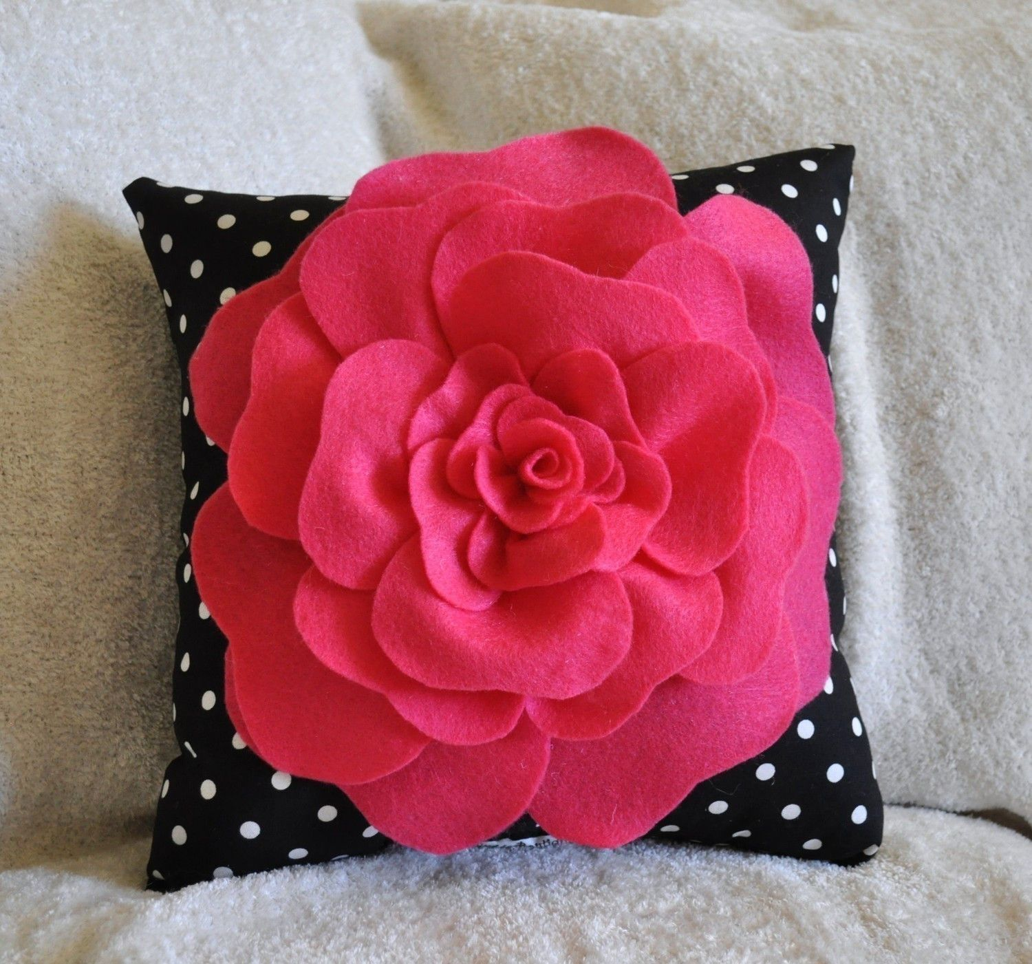 Hot Pink Rose On Black With White Polka Dot Pillow Size 14X14  Crafts -7782