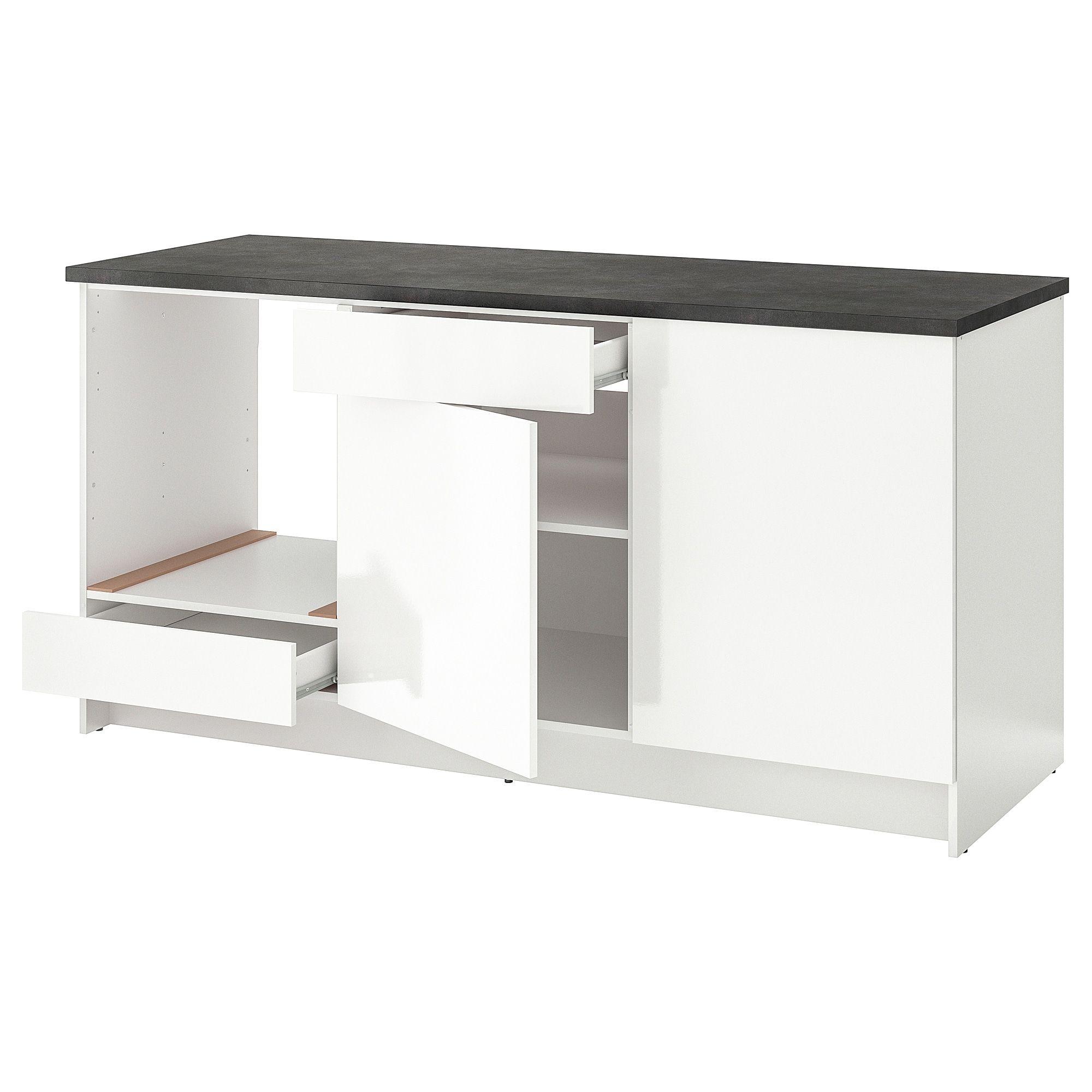 KNOXHULT Unterschrank mit Türen+Schublade Hochglanz weiß