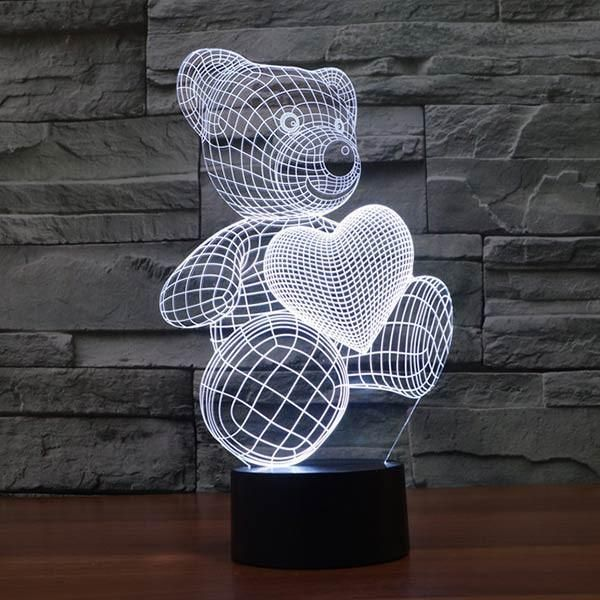 Teddy Bear With Heart Colorful 3d Led Veilleuse Led Lamp Led
