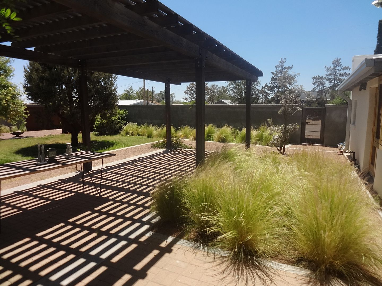 Backyard pergola marfa texas adobe desert home stevia