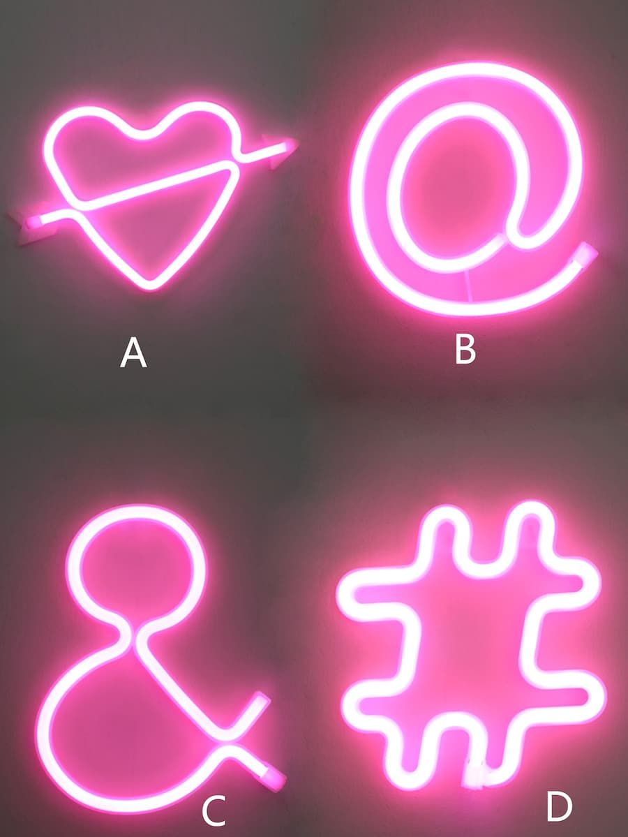 Symbol Design LED Light 1pc SHEIN Symbol design, Pink