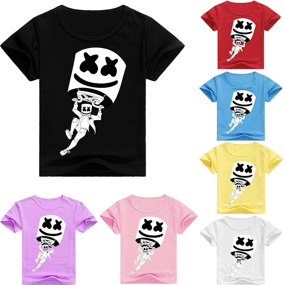Marshmello Dj Boys Girls Kids Short Sleeve T Shirt Tee Casual