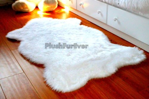 3' x 5' true white bearskins faux fur rug shaggy contemporary modern luxury
