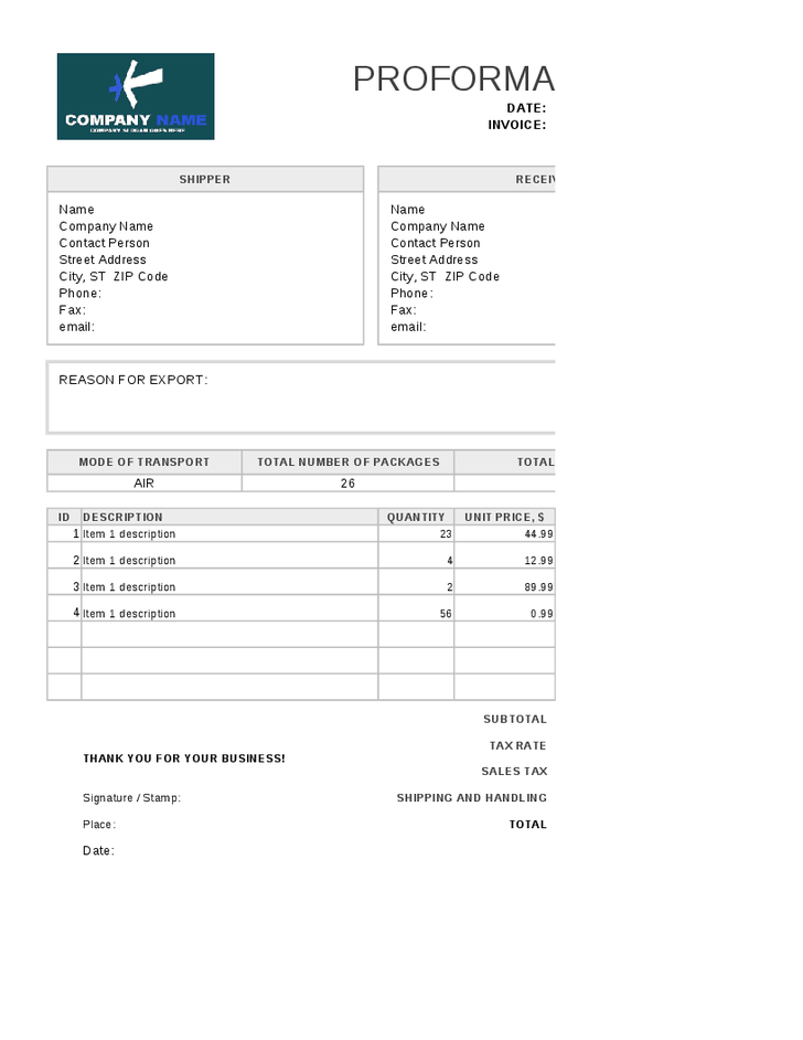 Moving Invoice Template invoice Pinterest – Format of Invoice in Word