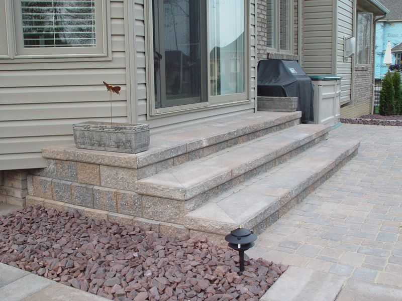 Paver steps patio brick paver steps macomb county for How to build a brick house step by step pdf