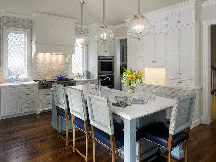 High Quality Elegant Kitchen With Regina Andrew Large Globe Pendants In Nickel Finish  Over Blue Kitchen Island Doubling