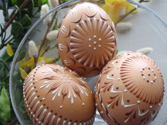 Easter Eggs Pysanky, Set of 3 Decorated Brown Chicken Eggs - by Bo Langner - etsy.com