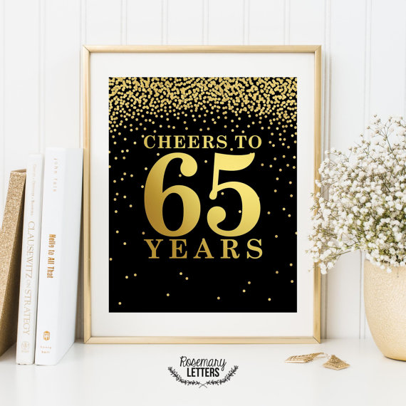 Cheers To 65 Years Set Of 2 Printables 65th Birthday Decor Sign Party Decorations Printable Banner