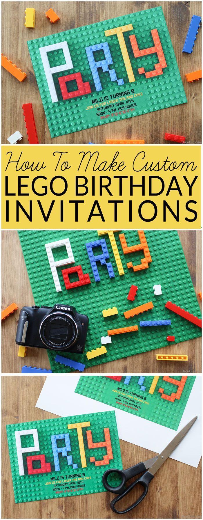 Free Lego Birthday Party Invitations Lego party invitations Diy