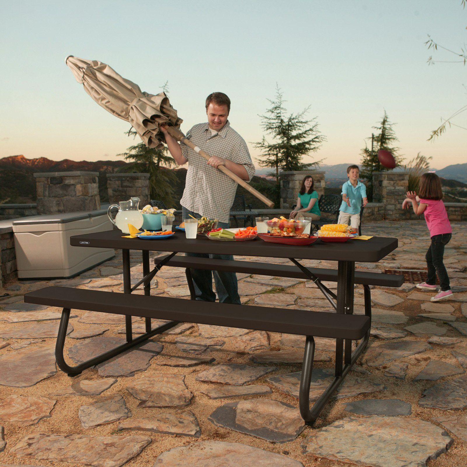 - Lifetime Products 6 Ft. Folding Picnic Table - Brown - 60105