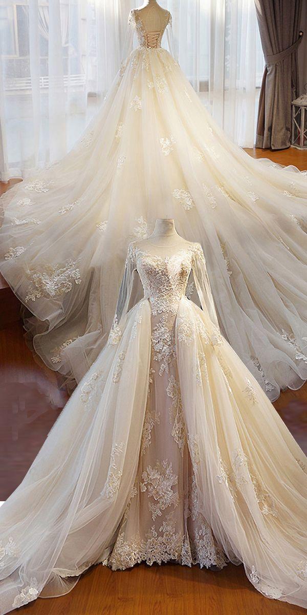 Brautkleider Ballkleid, Atemberaubende Tüll Juwel Ausschnitt 2 In 1 Brautkleider Mit Perlen Spitze Appliques & Abnehmbaren Zug