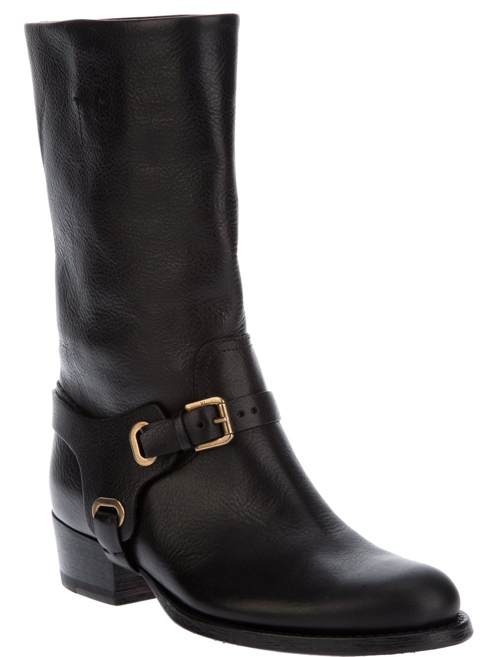 buy best best online closer at Black leather mid calf length boots from Ralph Lauren in ...