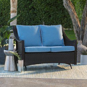Poolside Or Patio Afternoons Are Even More Comfortable With The Belham Living Lindau All Weather Wicker Loveseat Glider Cushion Dark Brown