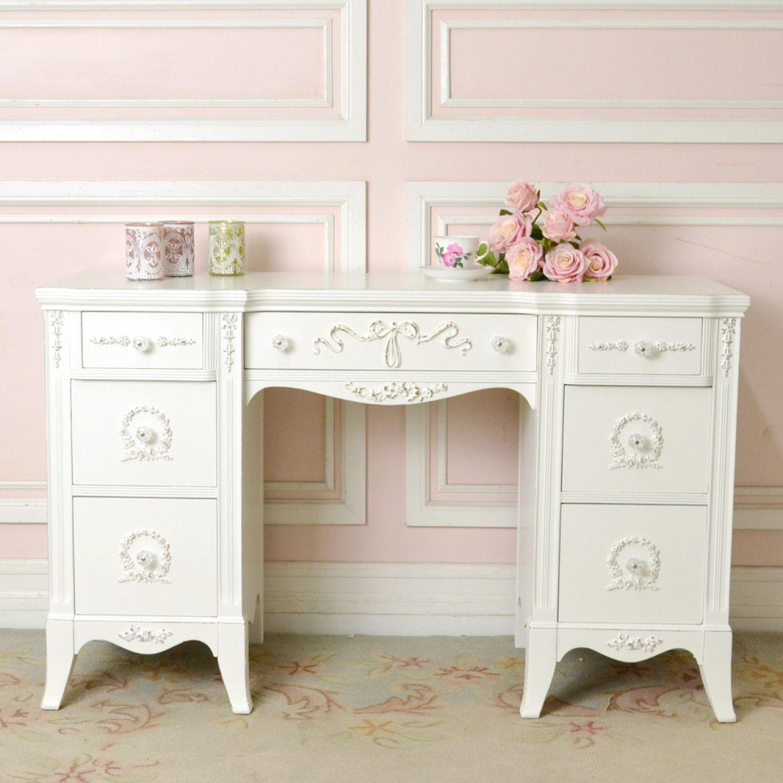 Rose Wreath White Writing Desk White Writing Desk Shabby Chic Office Furniture White Shabby Chic Desk