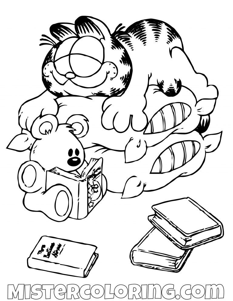 Garfield And Spooky Sleeping On Pillow Coloring Page Cartoon