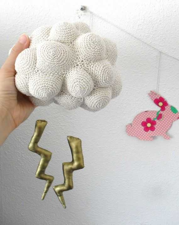 This is too cool!!! --Nice storm-Cloud with lightning crochet Mobile by HoKiou on Etsy