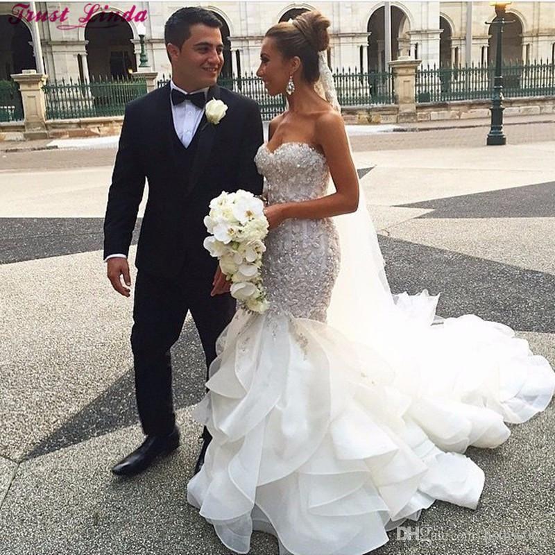 Cheap Plus Size Wedding Dress 2017 Beaded Strapless Bodice: Luxurious Applique Beaded Mermaid Wedding Dress 2017